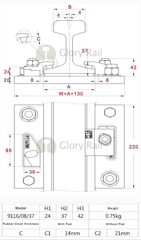 9116/08/37 rail clip